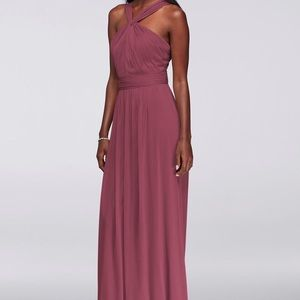 Y-Neck long mesh bridesmaid dress size 8- worn 1x
